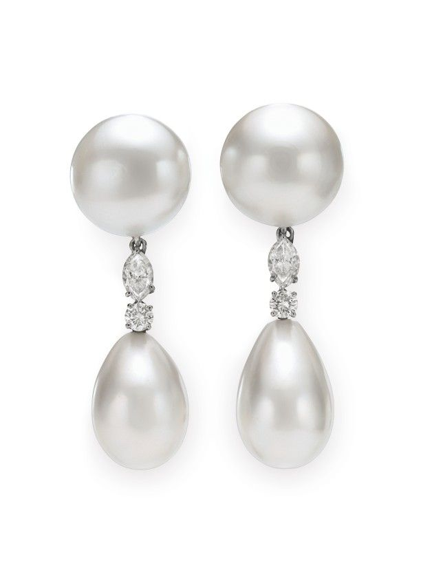 38f2c8e6eed9c Pearl and diamond earrings by Bulgari. Formerly owned by Elizabeth ...