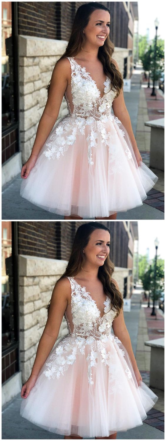 Pink see through lace dress  Pale Pink V Neck Lace See Through Short Homecoming Dresses Online