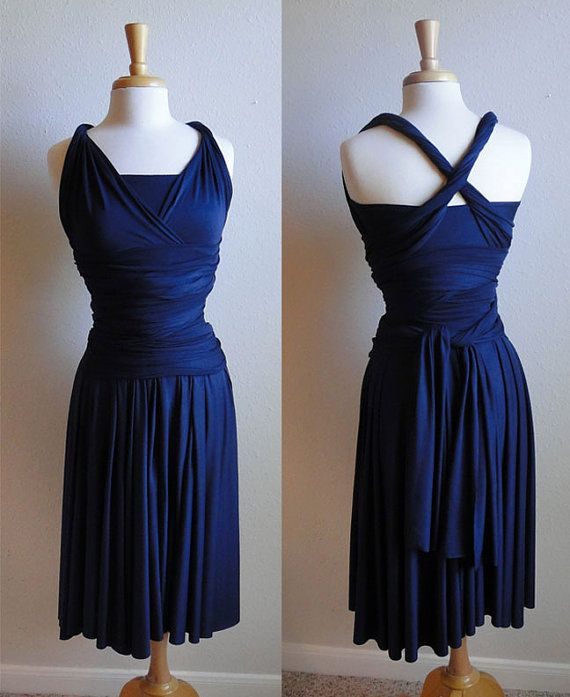 Convertible Infinity Wrap Dress In Navy By