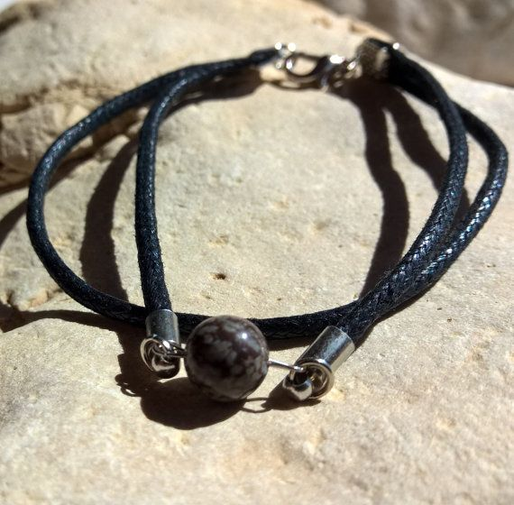 MEN bracelet natural snowflake Obsidian agate 2 layers by AnuanA