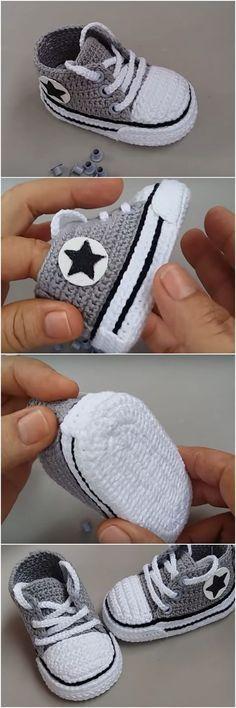 Crochet All Star Baby Booties - We Love Crochet