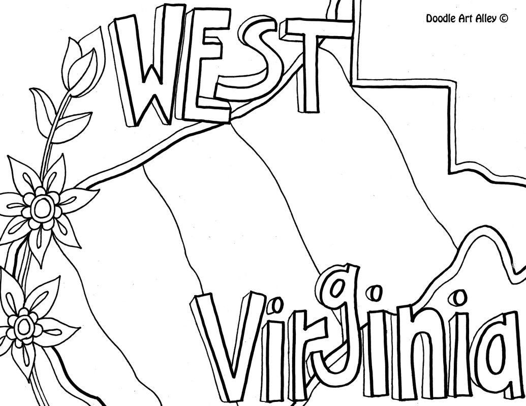 west virginia coloring page by doodle art alley - Coloring Page United States