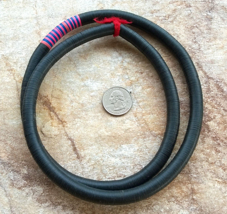 """10 mm Vintage Mostly Black African Vinyl Disc Beads,African Vinyl Beads,Vulcanite Beads 31""""(79 cm)Record Disc Beads, Mali Vinyl Beads(37) by RedEarthBeads on Etsy"""