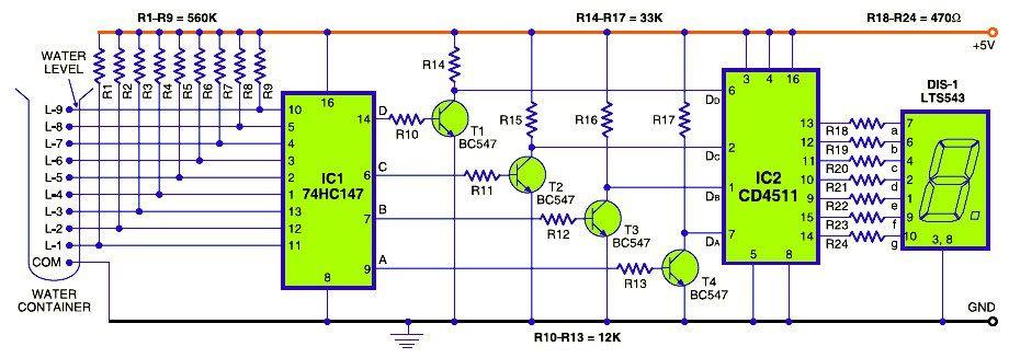 Water Level Indicator With Single 7 Segment Led Display Segmentation Circuit Design Schematic Design