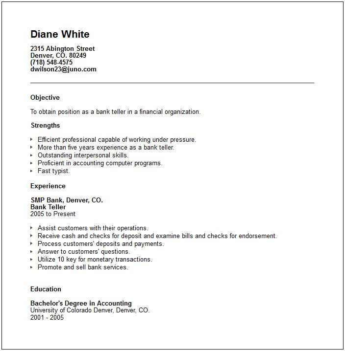 Sample Bank Teller Resume With No Experience -    www - objectives for warehouse resume