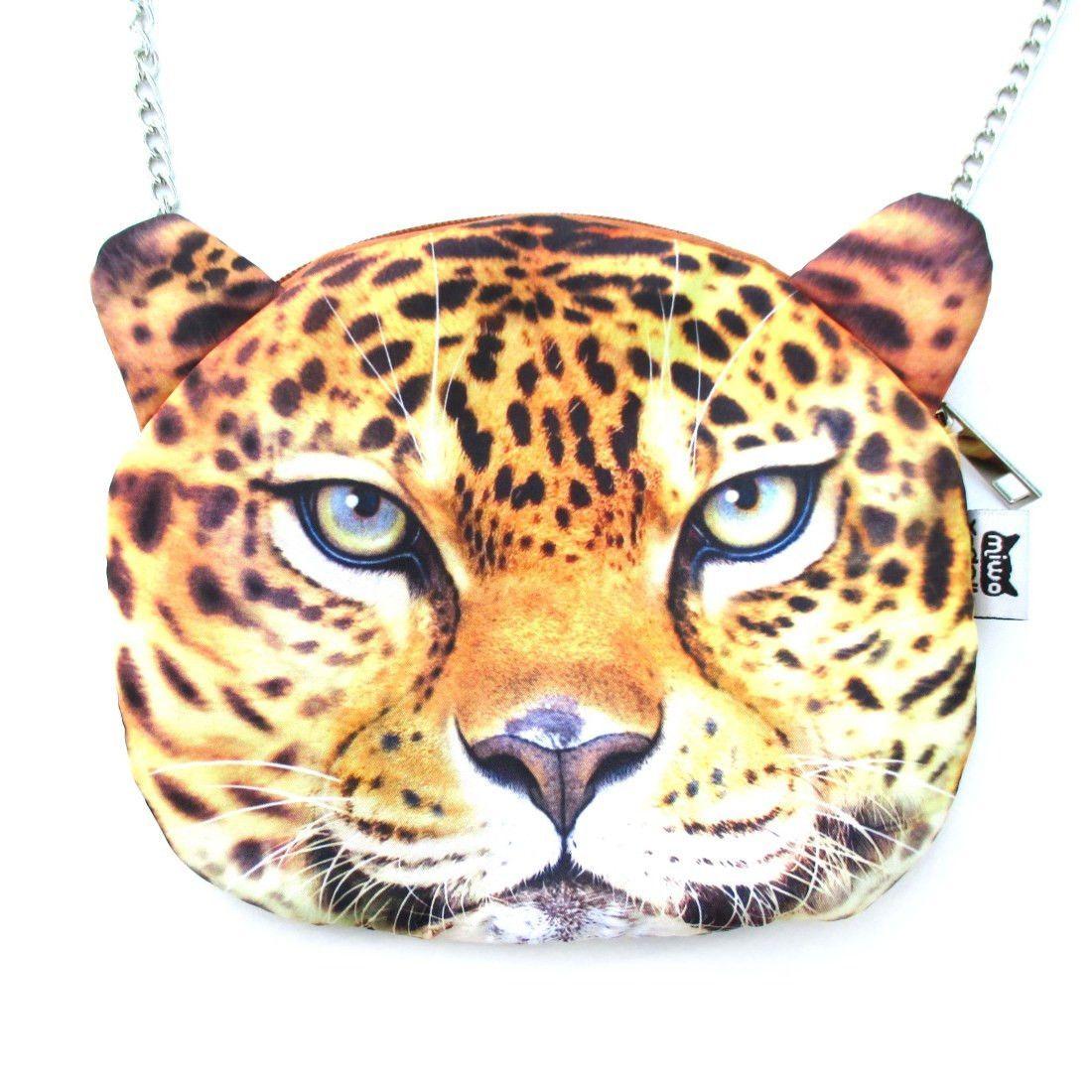 Realistic Cheetah Leopard Face Shaped Photo Digital Print Cross Body Shoulder Sling Bag