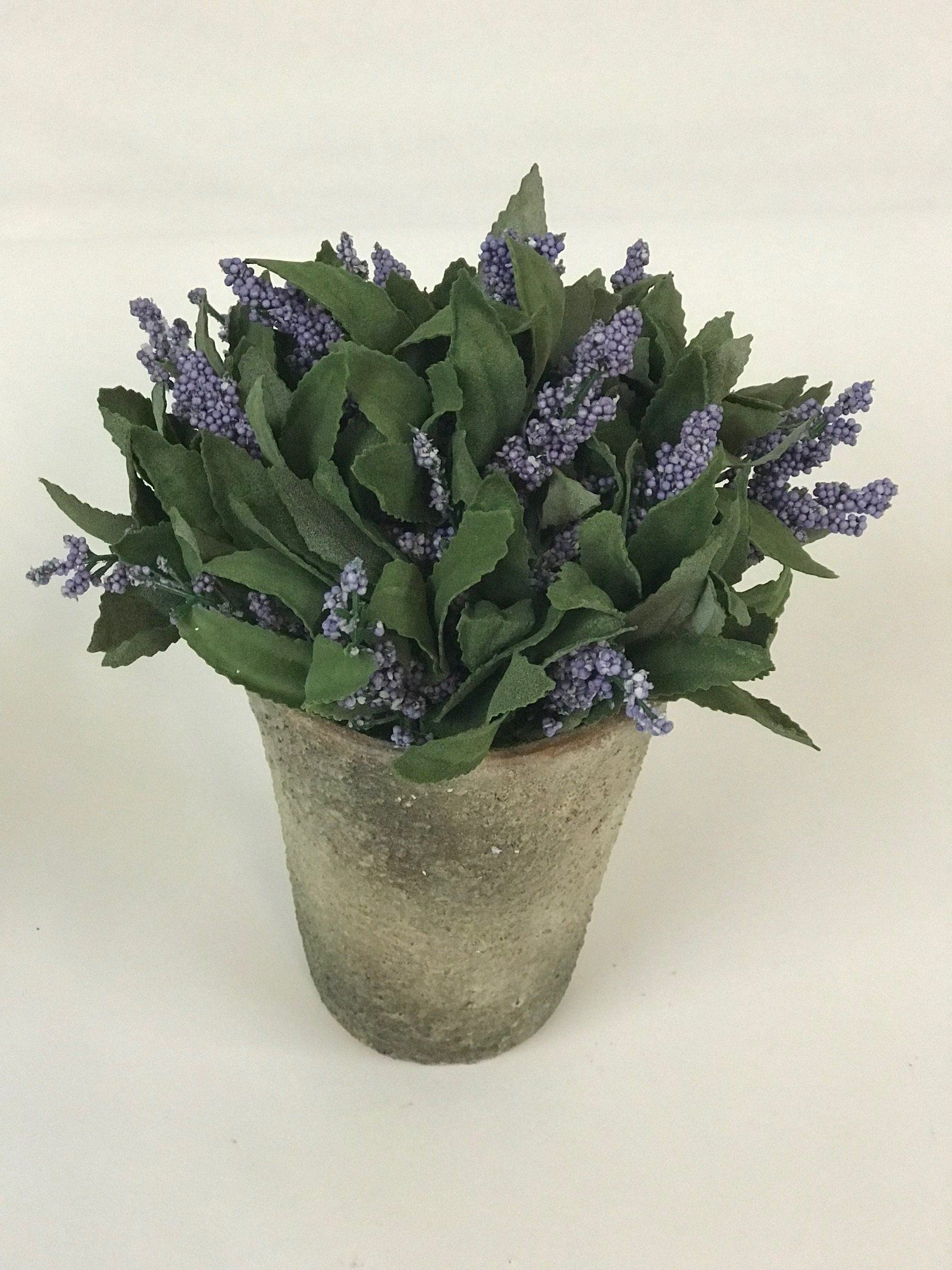 Lavender Plant In Rustic Pot Artificial Flowers Home Decor