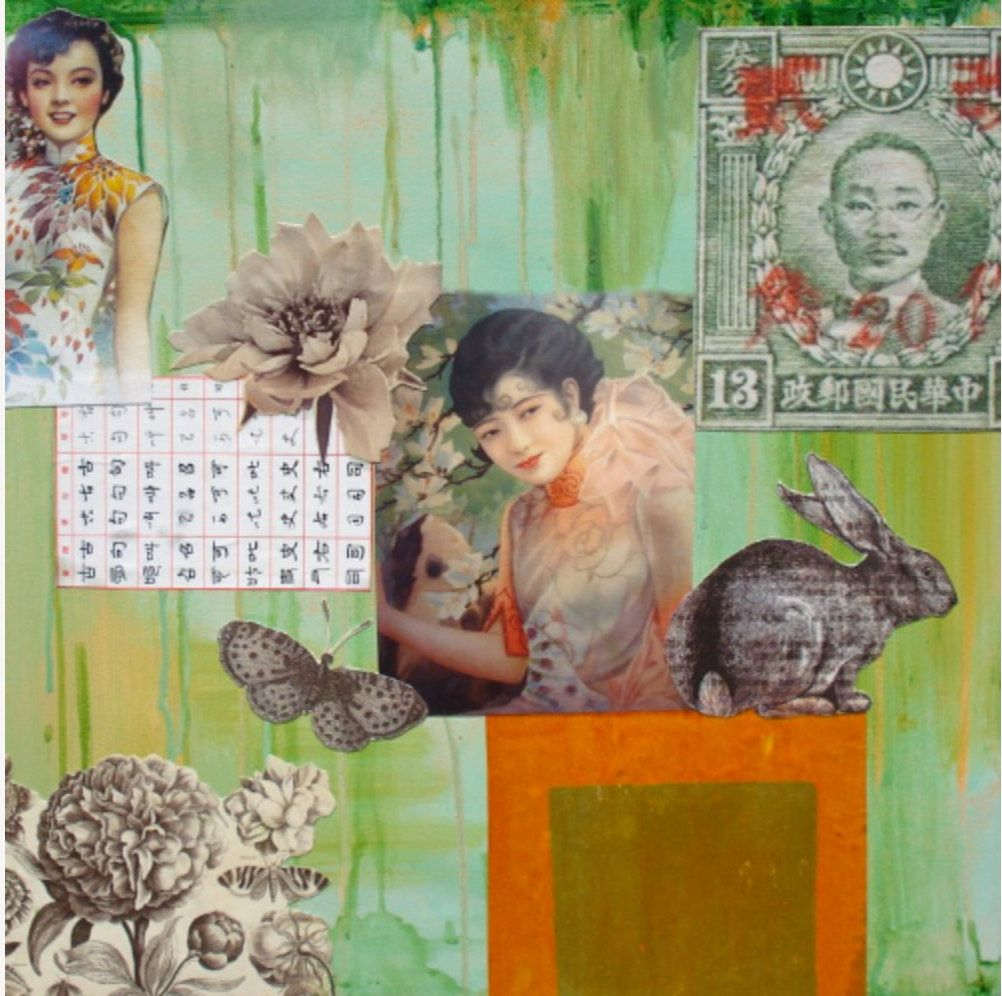 collage feng shui. Feng Shui Art Rabbit And Butterfly Asian Ladies Good Collage