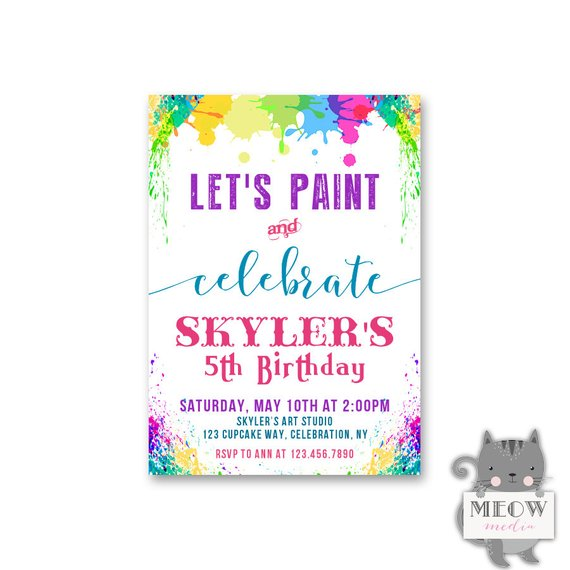Kids Paint Party Invitations 5th Birthday Lets Celebrate Girls Ar