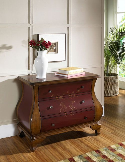 Hand Painted Ruby And Brown Bombay Chest | Bombay Chest