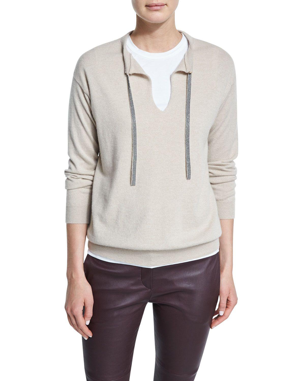 Cashmere Sweater W/Monili Tie, Grain, Women's, Size: M-32IN-80CM - Brunello Cucinelli