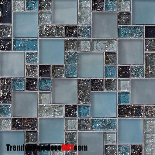 Sample Cream Crackle Glass Mosaic Tile Kitchen Backsplash: SAMPLE Blue Crackle Glass Mosaic Tile Backsplash Kitchen