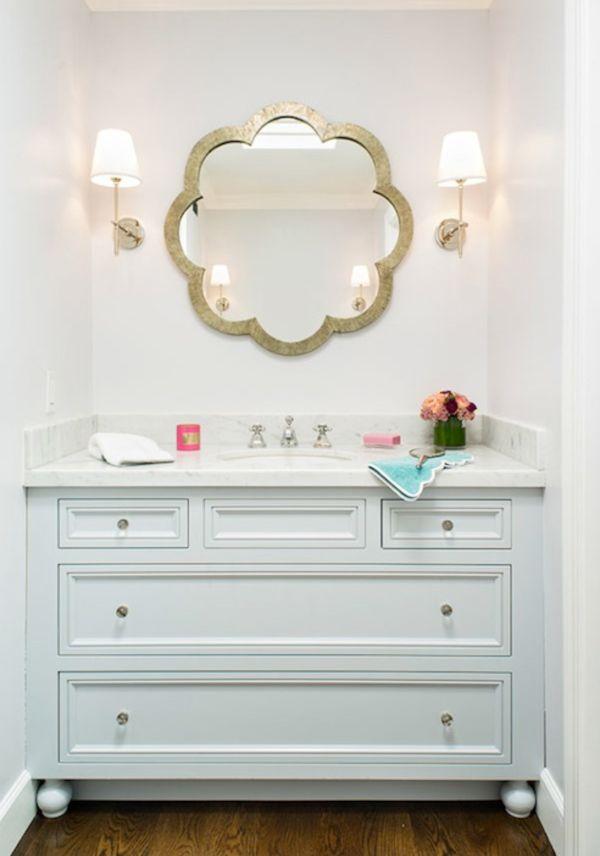 Powder Bathroom Bath Small Wallpaper Pedestal Sink Stylish Sconces Wall Lighting Unique Mirror Vero Beach Interior D