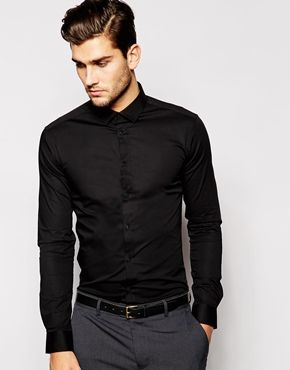 df9fc0cec70a ASOS Skinny Fit Shirt In Black With Long Sleeves | Male Fashion in ...