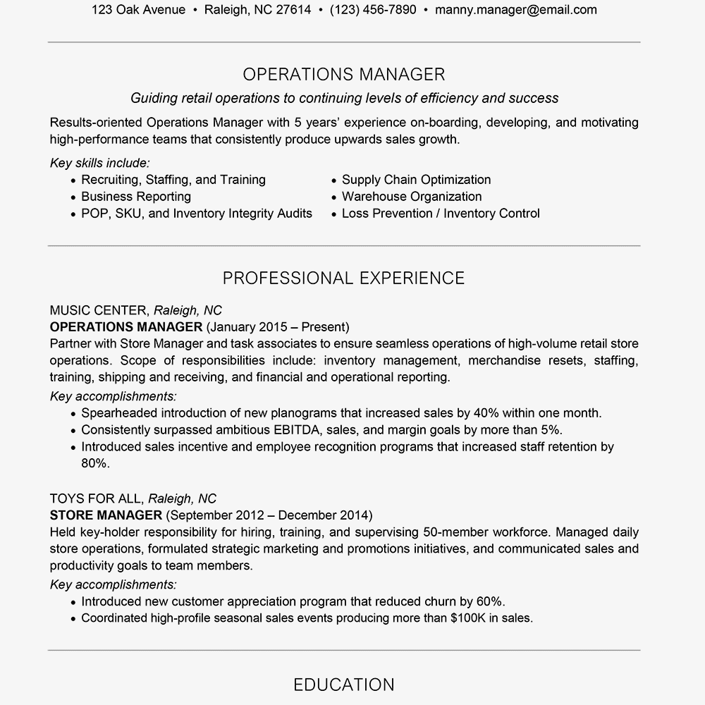 Resume Format For 5 Years Experience In Operations Job