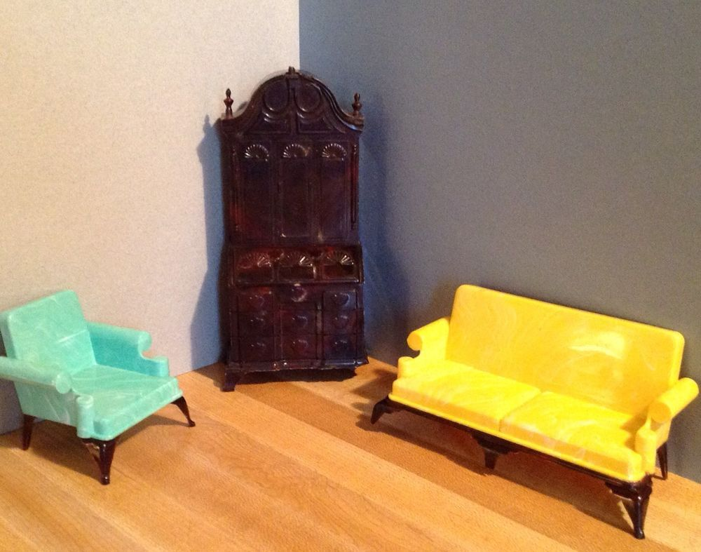 VINTAGE IDEAL DOLL HOUSE FURNITURE -- Sofa, Chair, Secretary -- AS IS Issues #Ideal