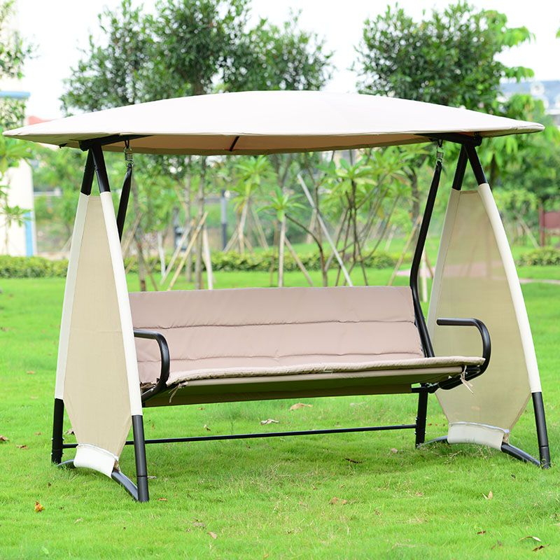 Outdoor Covered Swing Bench W Canopy Seats 3 Garden Backyard Patio Hammock Chair With Cushion Patio Hammock Pergola Swing Porch Swing With Canopy