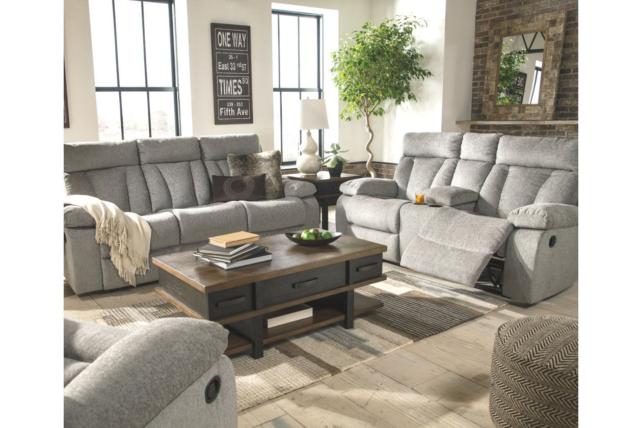 Mitchiner Reclining Sofa With Drop Down Table With Images Reclining Sofa Living Room Living Room Sets Living Room Furniture