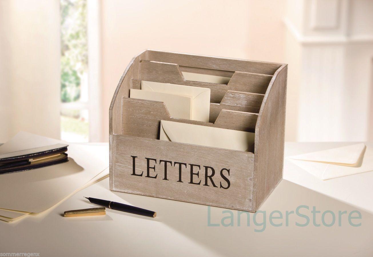 Holz Box Briefbox Ablage Schreibtisch Aufbewahrung Brief Zettel