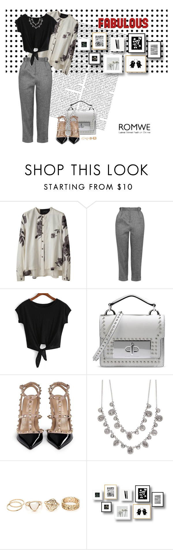 """Knotted Crop Black T-shirt"" by ellyandeddy-mendo ❤ liked on Polyvore featuring Rachel Comey, Topshop, Marc Jacobs, Valentino and Givenchy"