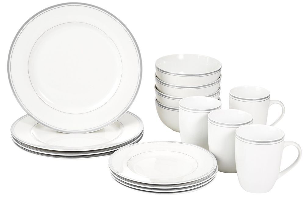 Amazonbasics 16 Piece Cafe Stripe Dinnerware Set Service For 4 Grey