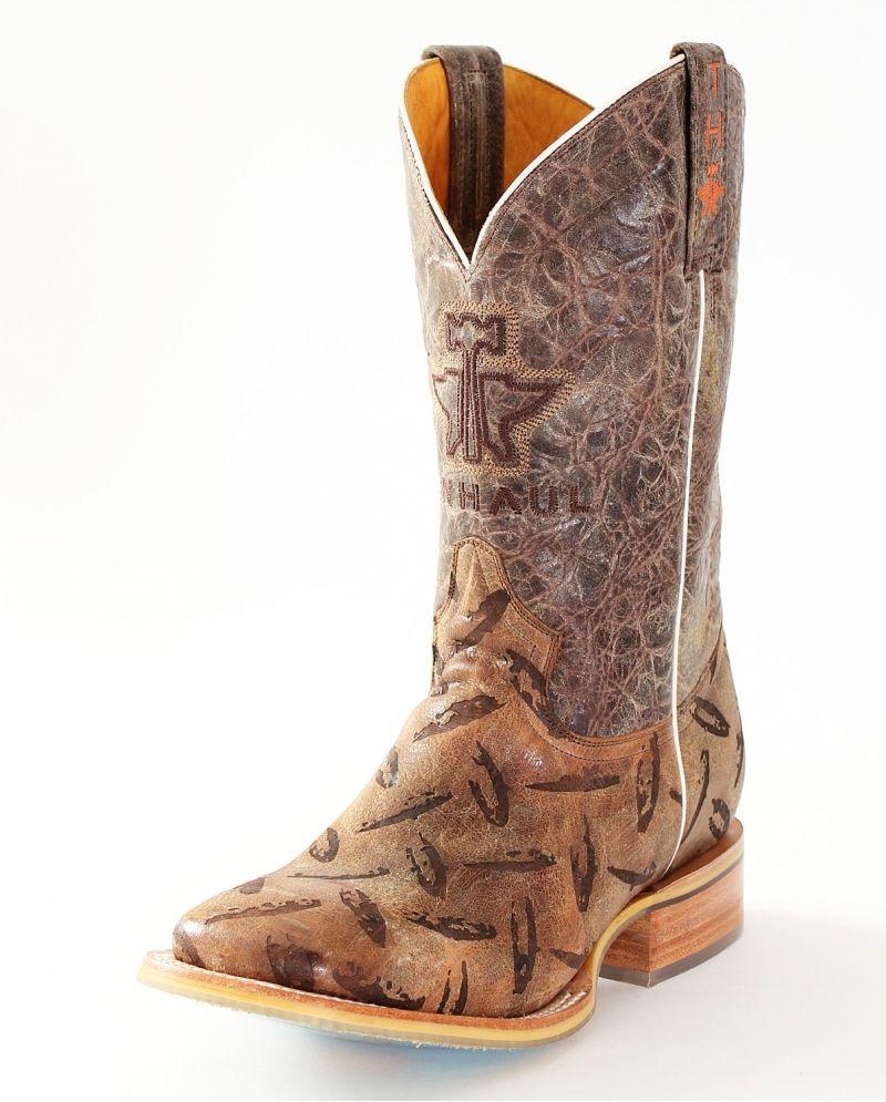Men&39s Cowboy Boots Tin Haul Tan Diamond Plated   Trucks Tin haul