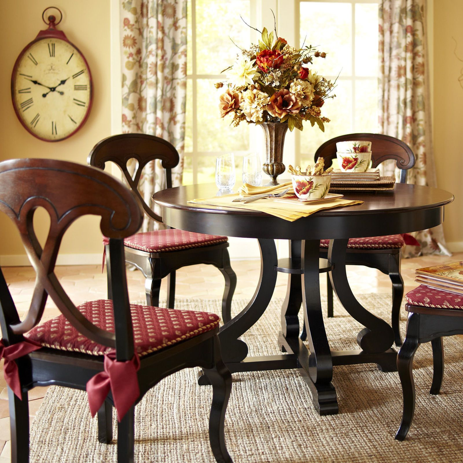 Pier 1 Marchella Dining Table And Chairs Paired With Gold Damask