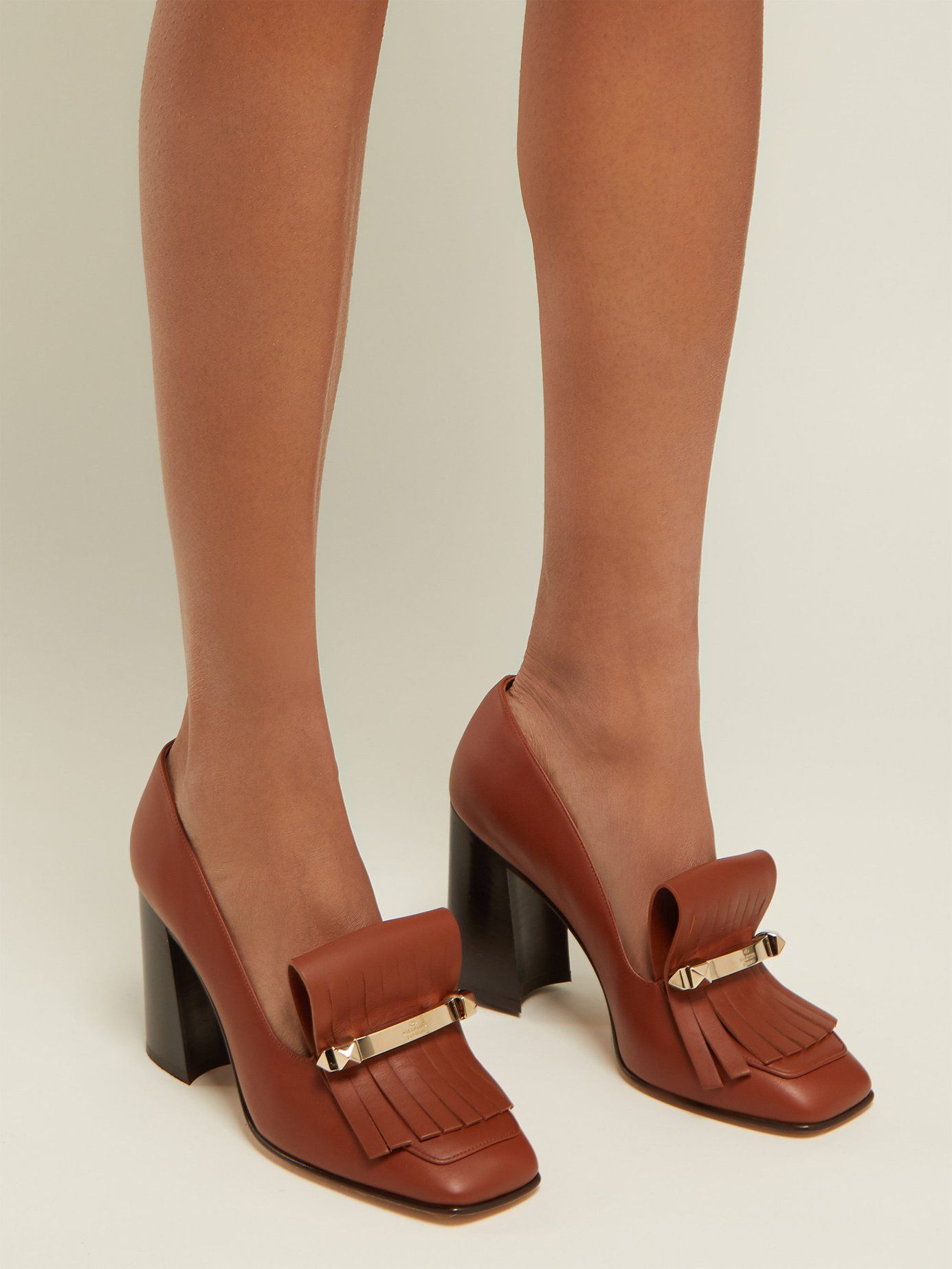 d383f86e238 Uptown fringed leather loafer pumps