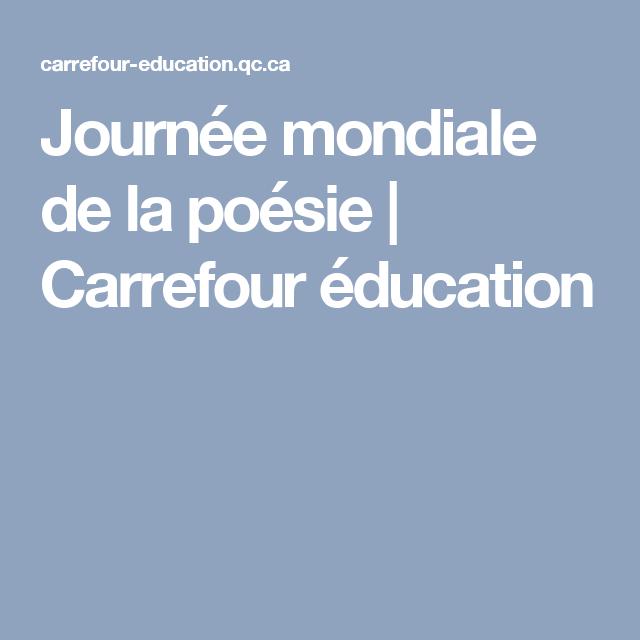 Journée mondiale de la poésie | Carrefour éducation