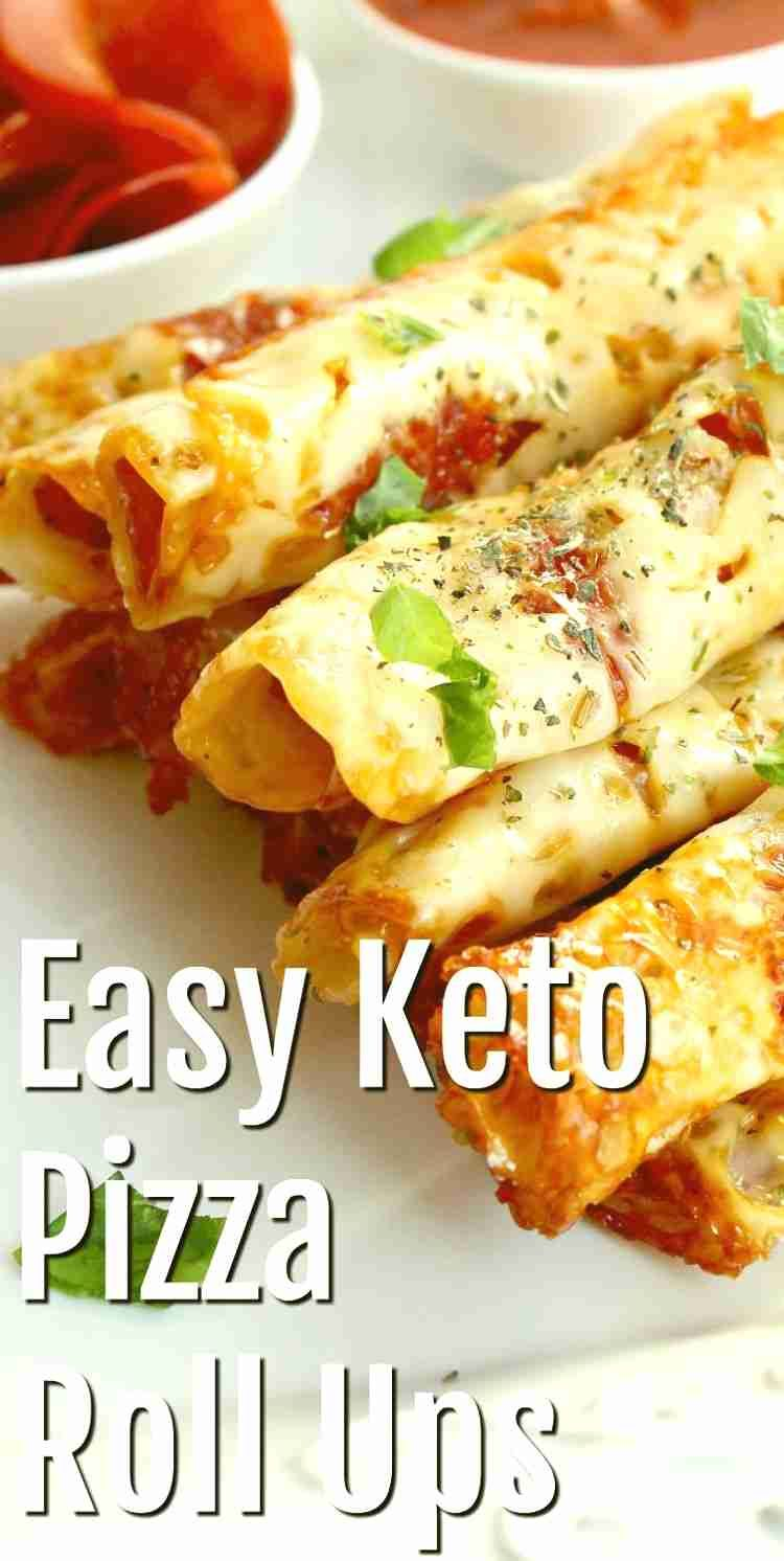 Satisfy your pizza cravings without the carbs with this Easy Keto Pizza Roll Ups recipe! These keto snacks are low carb, sugar and gluten free!  #ketosnacks #keto #Ketodiet #ketorecipes #pizza #ketopizza #pizzarollups #appetizer #food #recipes #lowcarbideas #lowcarb