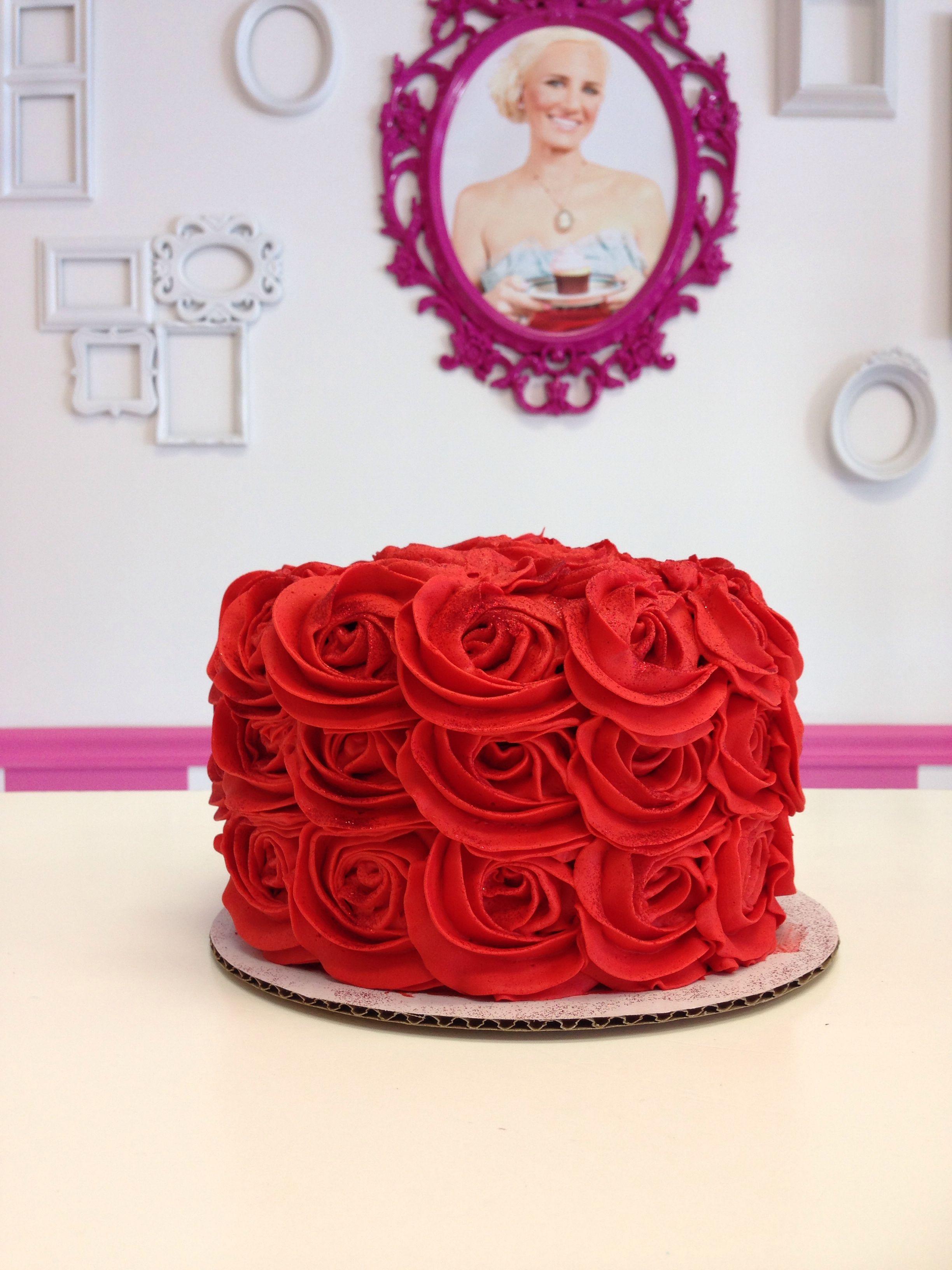 Red Rose Cake By Goodie Girls Elegant Rosette Cake Tea Party Cake