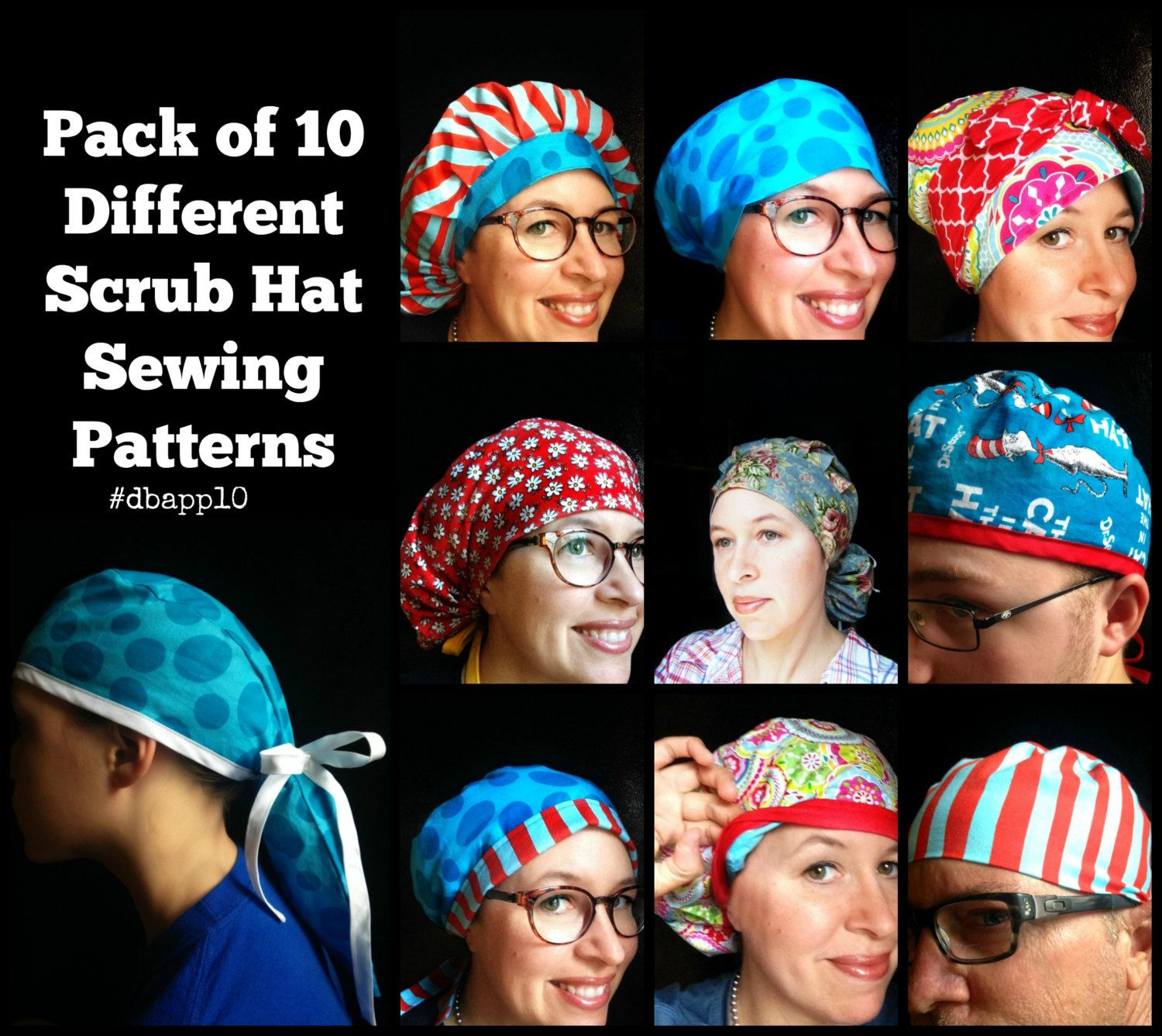 Scrub Hat Sewing Pattern ALL 10 DIY Downloadable PDF Sewing
