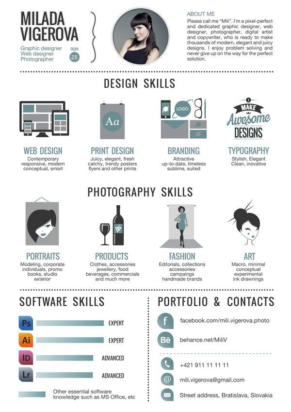 30+ Examples of Creative Graphic Design Resumes (Infographics - sample photographer resume template