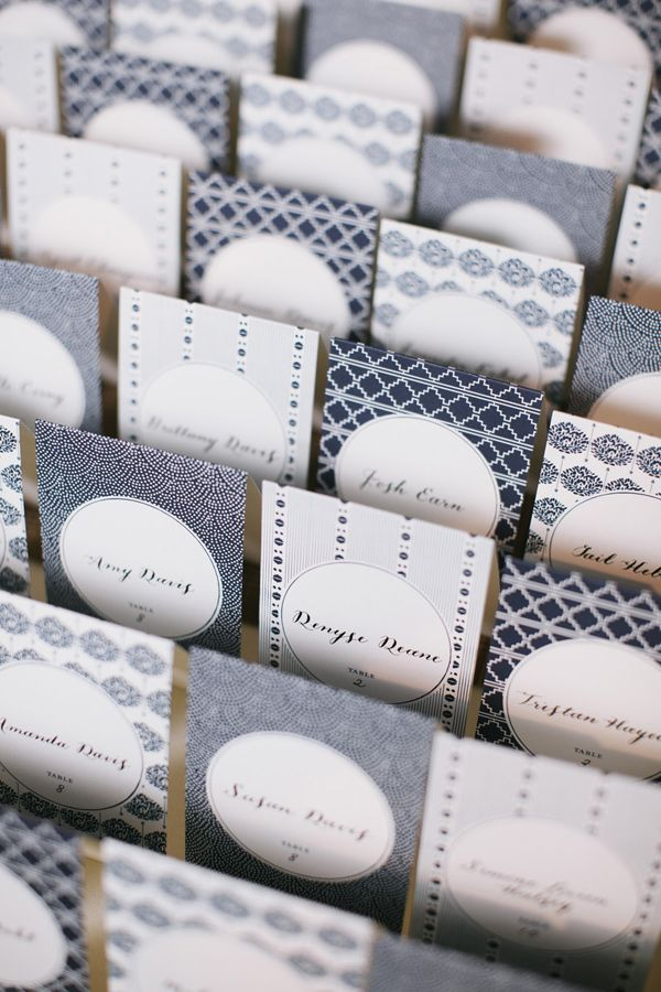 chic blue patterned escort cards