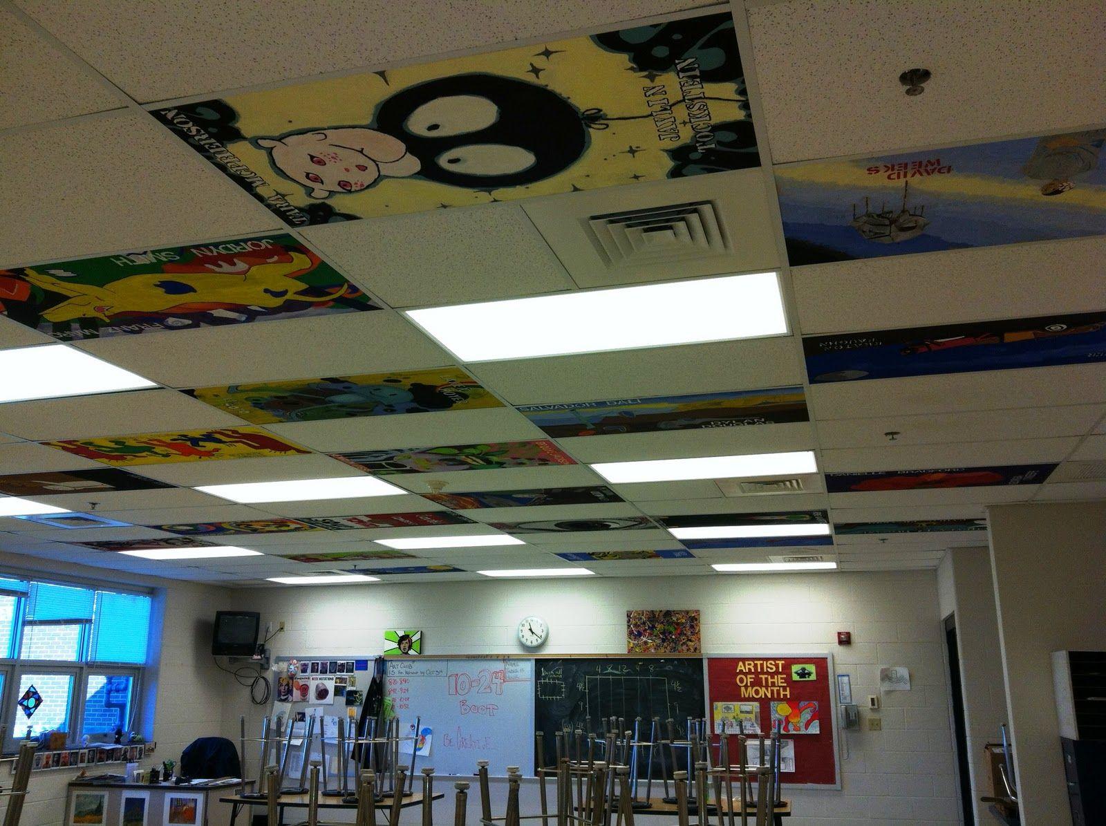 Classroom Decoration Ceiling ~ Ceiling tile art massac club tiles