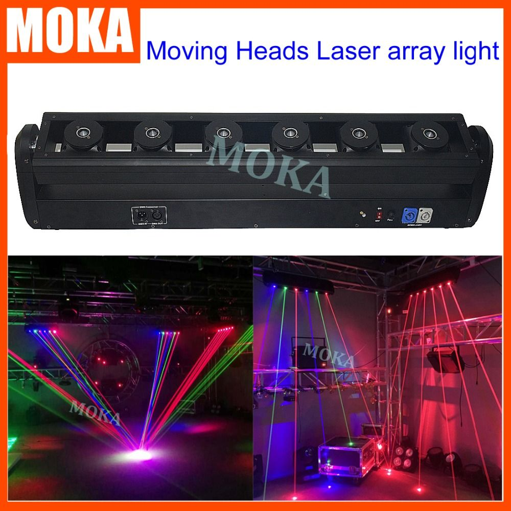 1 Pcs Lot Led Rgb 3in1 Beam Moving Head Laser Light Dmx Control Laser Array Light Projector For Stage Club Party Disco Bar