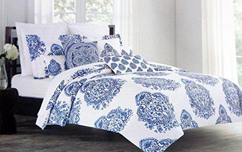 Nicole Miller 3 Piece King Size Duvet Cover Set Blue China