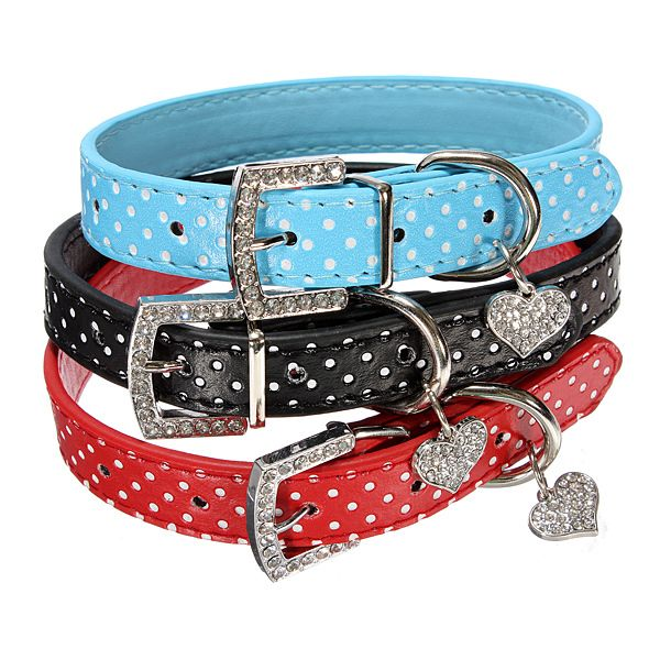 Dog Spotty Collar - in 5 colours - with sparkly bling heart - Seniors iStore