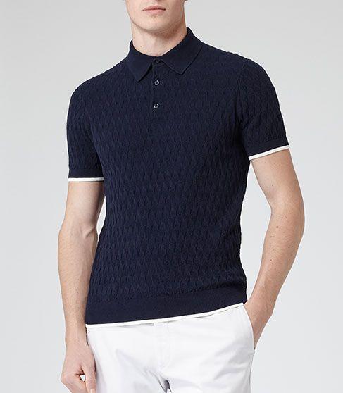 a930800a2 Reiss Platinum Mens Blue Short Sleeve Knit Polo