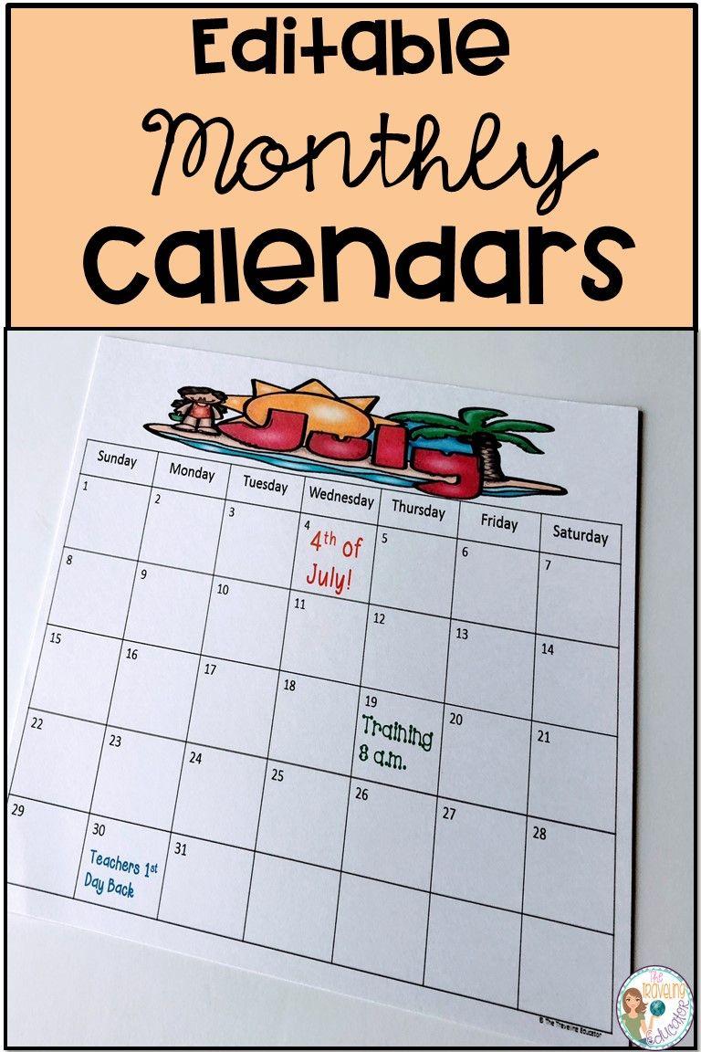 Editable Monthly Calendar Template  Monthly Calendar Template