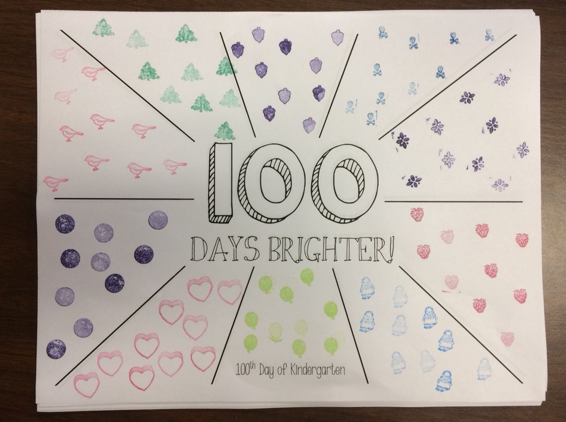 100th Day Of School Put 10 Stamps Or Stickers In Each