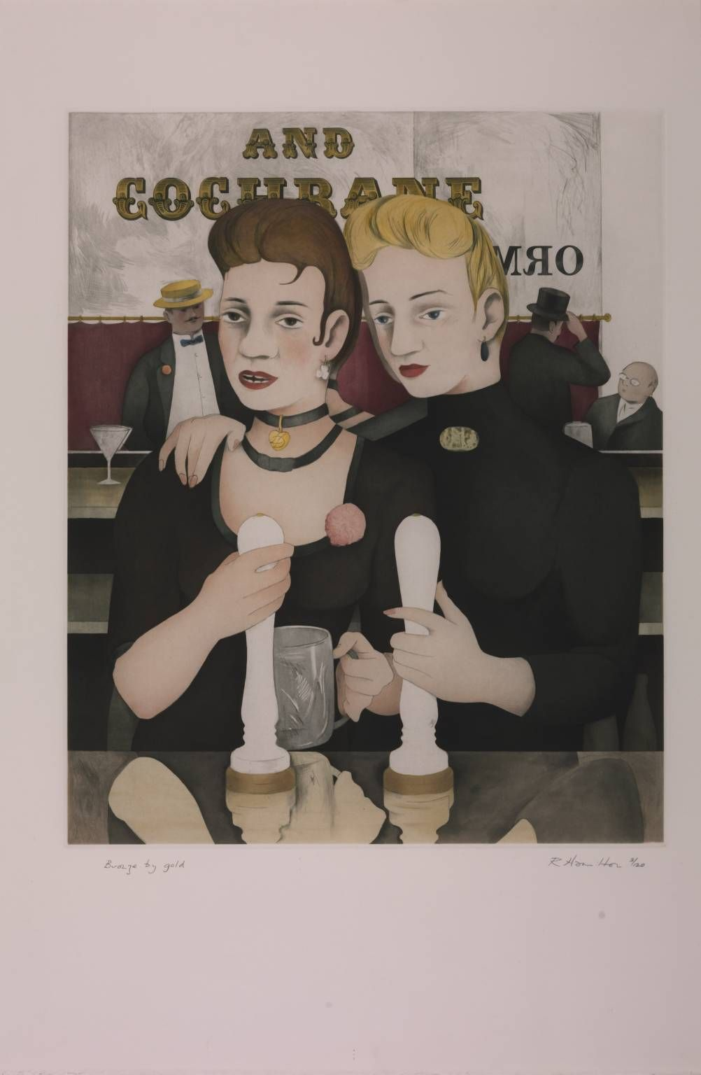 "Richard Hamilton, ""Bronze by Gold"", 1985-7. Etching, aquatint, engraving on paper. Illustration for the Sirens chapter of James Joyce's ""Ulysses""."