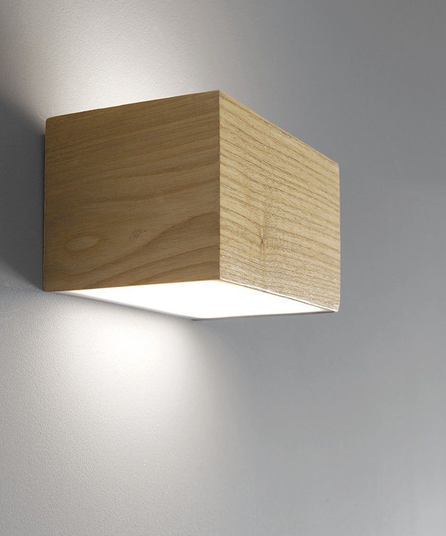 Ledlux Nord Led Up Down Cube Wall Bracket In Teak Energy