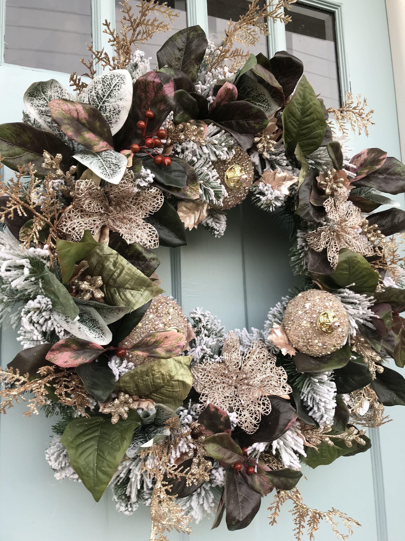 Elegant Rose Gold All Winter Long Pine Wreath for Door ...
