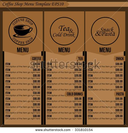 Image Result For Coffee Menu Template  Coffee Shop