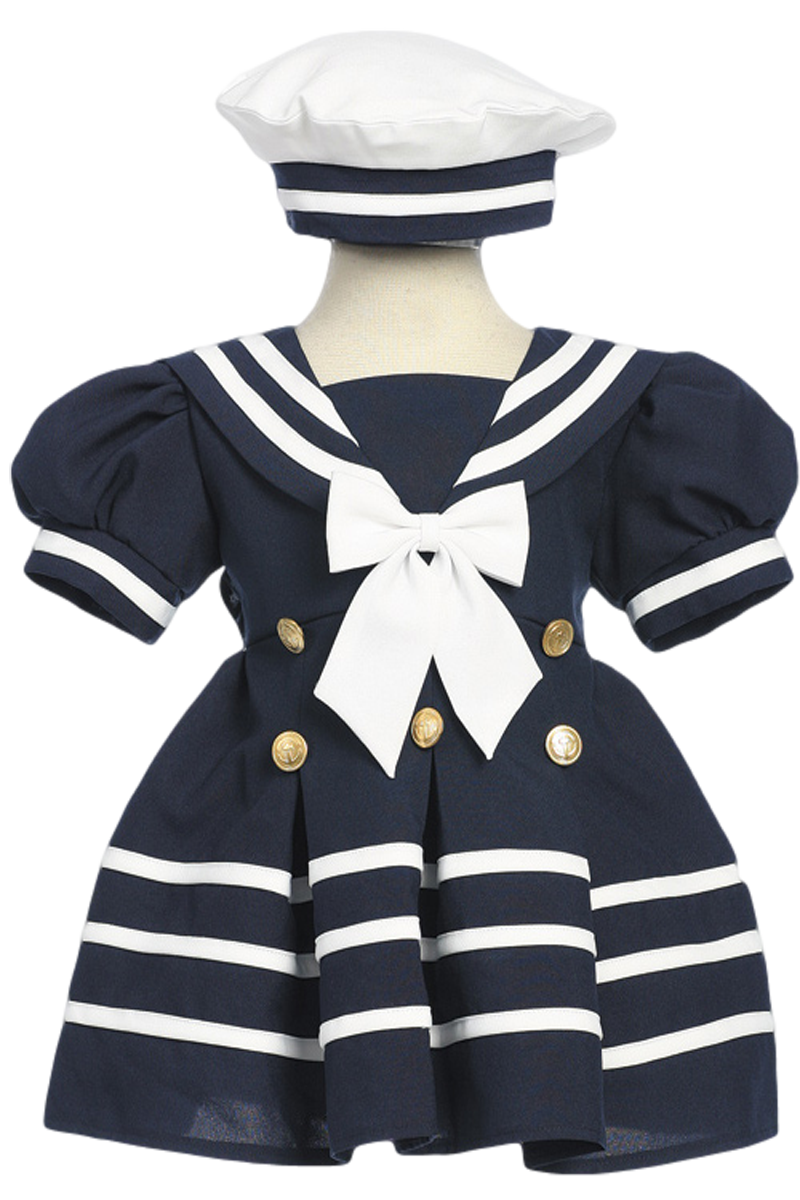 e7654f3d9b565 Navy Blue Classic Nautical Sailor Dress with White Trim   Beret Style Hat ( Baby or Toddler Girls)