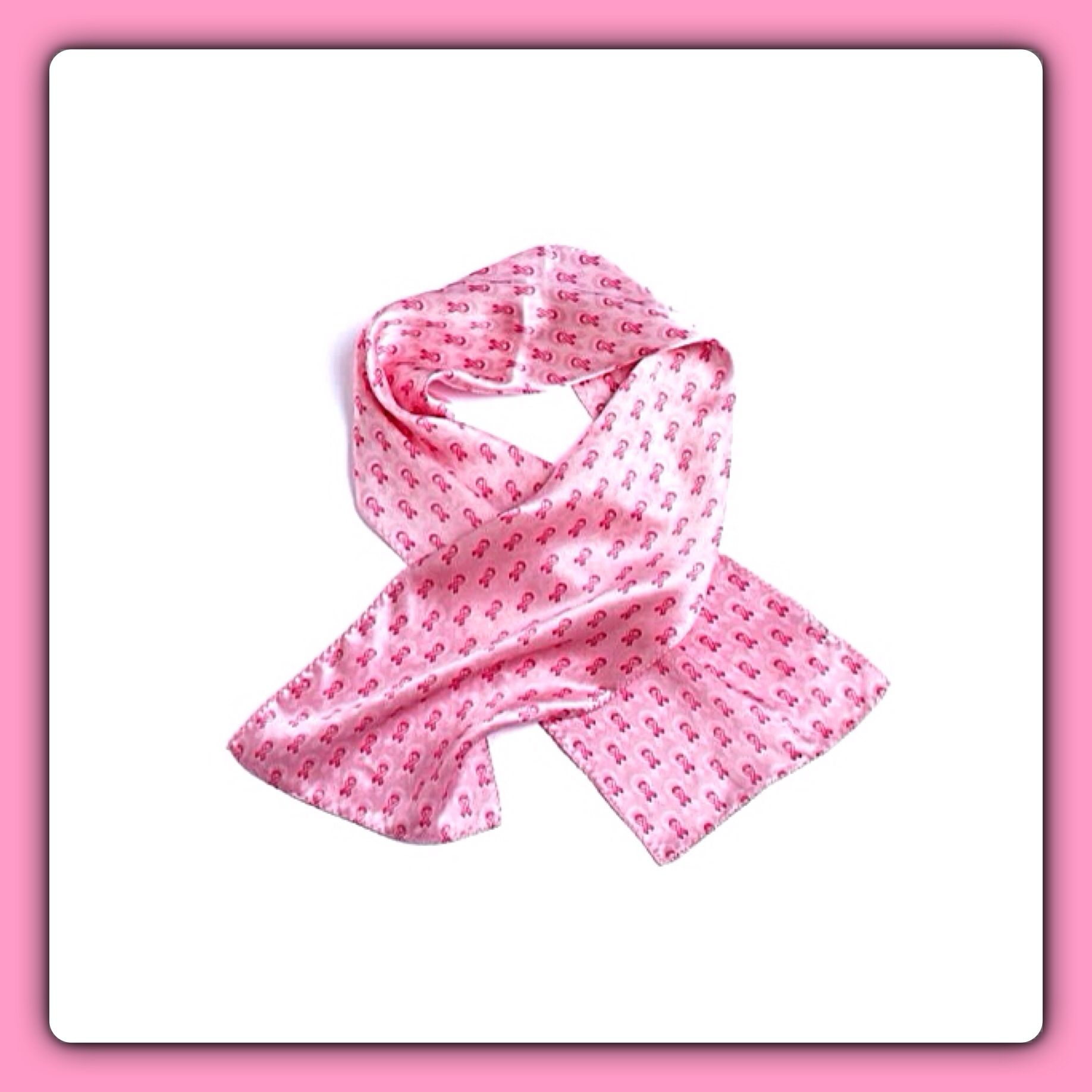 Pink Breast Cancer Ribbon Scarf