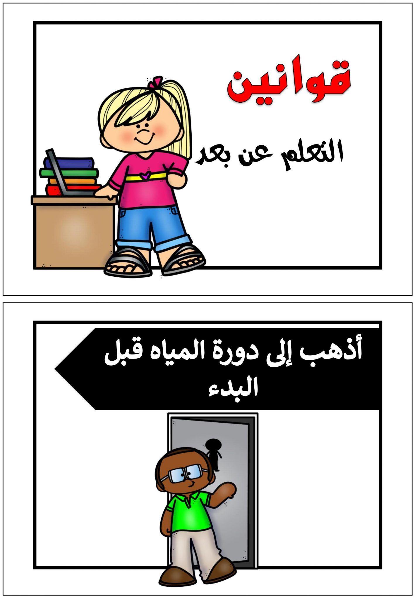 بطاقات وقوالب لقوانين التعلم عن بعد للتهيئة الطفل للدرس Arabic Alphabet Letters Lettering Alphabet Arabic Alphabet