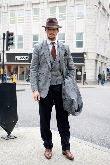 Black waistcoat grey shirt dress