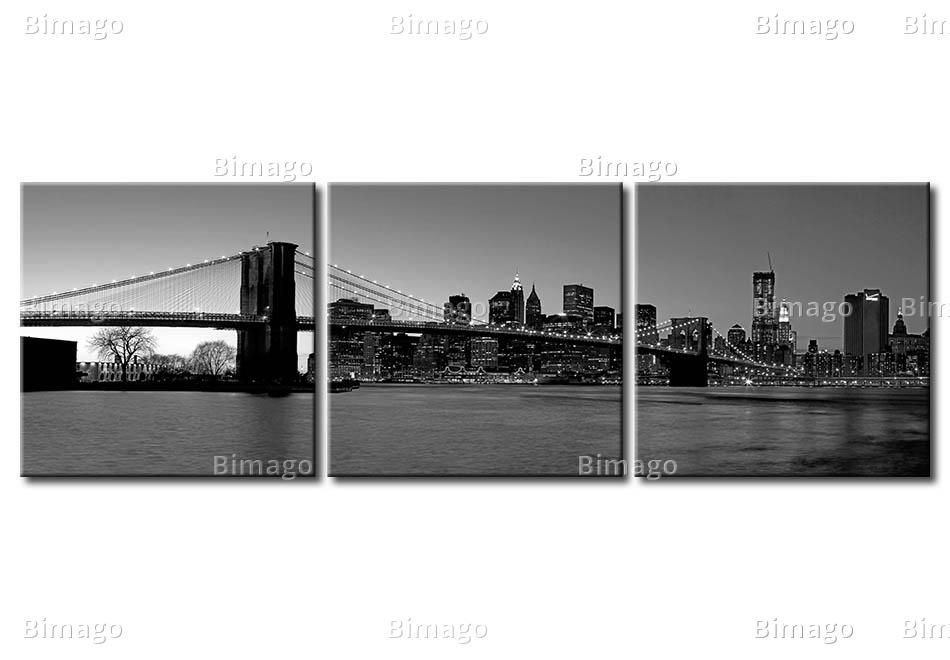 Quadro new york: vista su manhattan e brooklyn bridge foto su tela